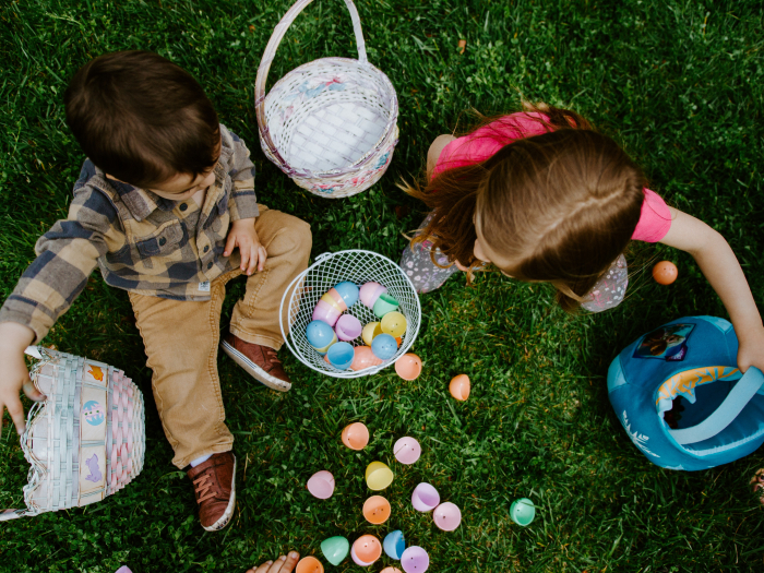 child, adult, eggs, easter, flowers